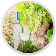 White Wine In Vineyard Round Beach Towel