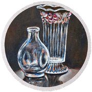 Glass Vases-still Life Round Beach Towel