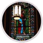 Glass Window Of Saint Philip In The Basilica In Santa Fe  Round Beach Towel