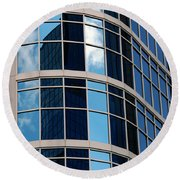 Glass Window Reflection Round Beach Towel