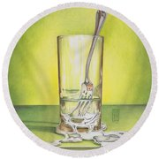Glass With Melting Fork Round Beach Towel
