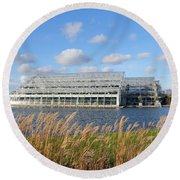 Glasshouse At Rhs Wisley Surrey Uk Round Beach Towel
