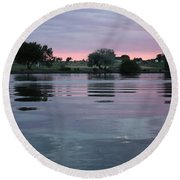 Glassy River Reflection Round Beach Towel