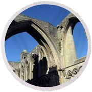 Glastonbur Abbey 2 Round Beach Towel