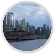 Gleaming Cityscape. Vancouver At Dawn  Round Beach Towel
