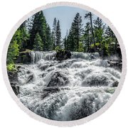 Glen Alpine Falls 7 Round Beach Towel