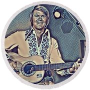 Glen Campbell Abstract Round Beach Towel