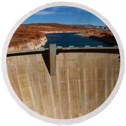 Glen Canyon Dam And Lake Powell Round Beach Towel