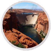 Glen Canyon Dam - Arizona Round Beach Towel