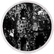 Glen Island Castle  Round Beach Towel
