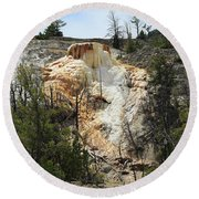 Glen Spring At Mammoth Hot Springs Upper Terraces Round Beach Towel