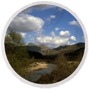 Glen Strontian And The River Strontian Sunart Western Highlands Scotland Round Beach Towel