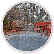 Glenwood Springs Hot Springs In Winter Round Beach Towel