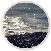 Glistening Rocks And The Ocean Round Beach Towel