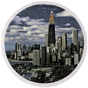 Glittering Chicago Christmas Tree Round Beach Towel