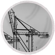 Global Containers Terminal Cargo Freight Cranes Bw Round Beach Towel