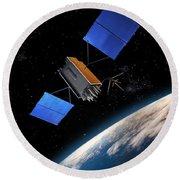 Global Positioning System Satellite In Orbit Round Beach Towel