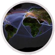 Global Transportation Map Round Beach Towel by Felix PD and Globaia