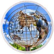 Globe At Columbus Circle Round Beach Towel