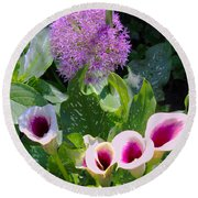 Globe Thistle And Calla Lilies Round Beach Towel by Corey Ford