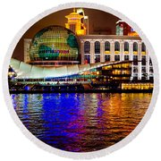 Globes On The Bund At Night Round Beach Towel