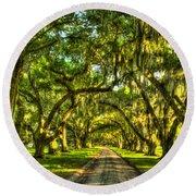 Glorious Entrance Tomotley Plantation South Carolina  Round Beach Towel