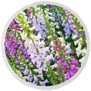 Glorious Foxgloves Round Beach Towel