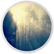 Glorious Morning Light Round Beach Towel