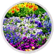 Glorious Pansies Round Beach Towel