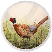 Glorious Pheasant-1 Round Beach Towel