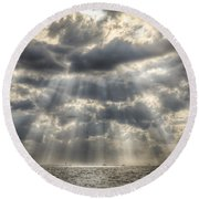 Glorious Rays Of The Heavens Round Beach Towel