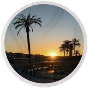Glorious Sevillian Sunset With Palms Round Beach Towel