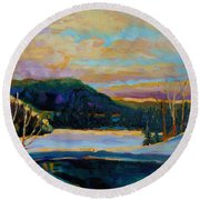 Glorious Winter Sunrise Round Beach Towel