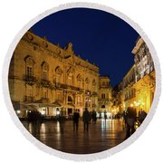 Glossy Outdoor Living Room - Passeggiata On Piazza Duomo In Syracuse Sicily Round Beach Towel