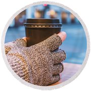 Gloved Hands Holding Coffee Cup Round Beach Towel