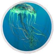 Glow Green Jellyfish Round Beach Towel