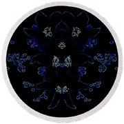 Glowing Blue Blossoms Round Beach Towel