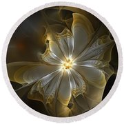 Glowing In Silver And Gold Round Beach Towel