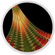 Glowing Leaf Of Autumn Abstract Round Beach Towel