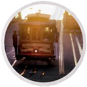 Glowing Magical Cable Cars On Nob Hill Round Beach Towel