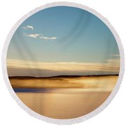 Glowing Mists Are Rising From A Frozen Lake Round Beach Towel