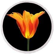 Glowing Orange Tulip Flower Round Beach Towel