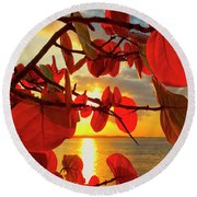 Glowing Red Round Beach Towel
