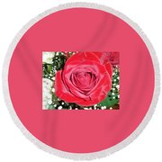 Glowing Rose Round Beach Towel