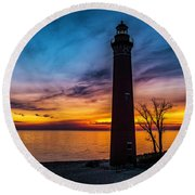 Glowing Sky At Little Sable Round Beach Towel