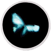 Glowing Soft Butterfly In Teal Blues Round Beach Towel