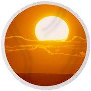 Glowing Sunball Round Beach Towel