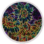 Glowing Sunflowers Round Beach Towel