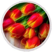 Glowing Tulips Round Beach Towel