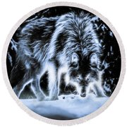 Glowing Wolf In The Gloom Round Beach Towel